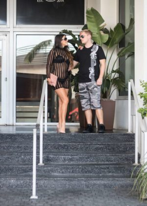 Claudia Romani and Chris Johns on South Beach in Miami