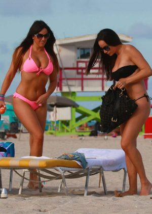 e29def5f2 Claudia Romani and Elisa Scheffler in Bikini at the beach in Miami