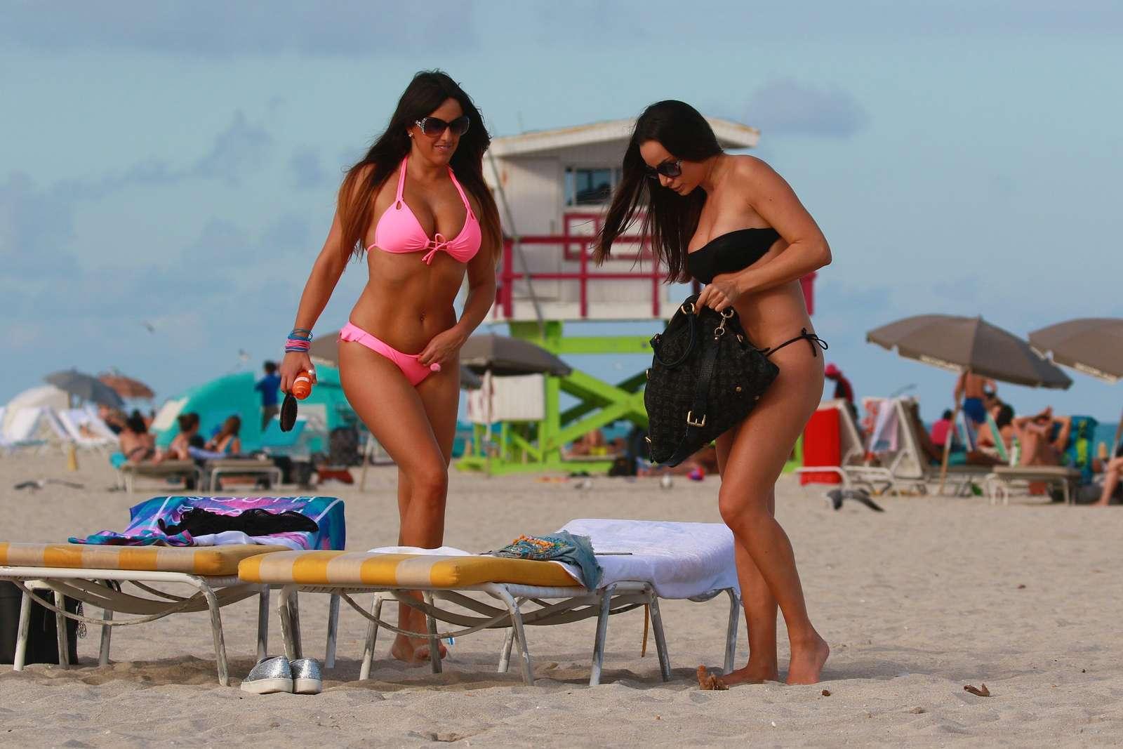 Claudia Romani and Elisa Scheffler in Bikini at the beach in Miami