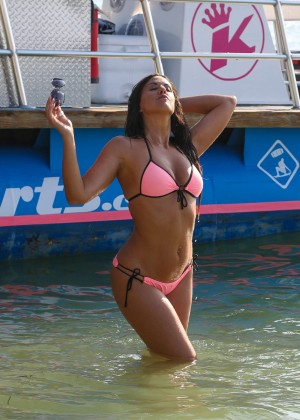 Claudia Romani in Pink Bikini in Miami