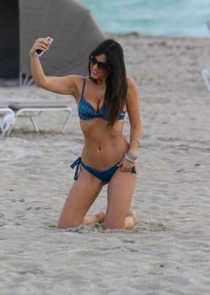 Claudia Romani in Blue Bikini in Miami