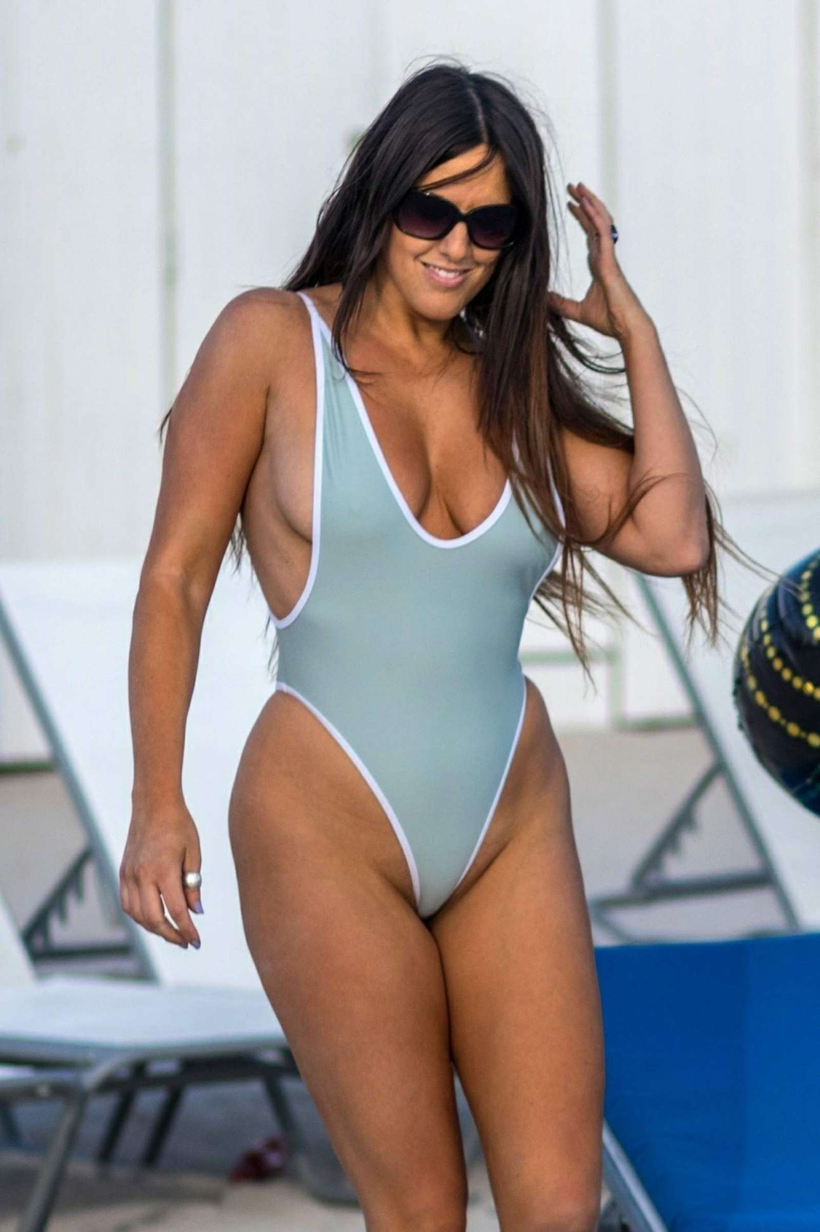Claudia Romani In A Baby Blue Swimsuit In Miami