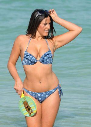 Claudia Romani in a Blue Tiny Bikini in Miami