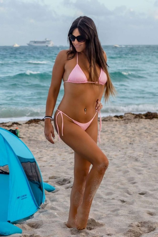 Claudia Romani in Bikini at a Beach in Miami