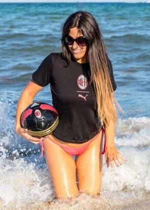 Claudia Romani in Bikini Bottoms having fun on South Beach
