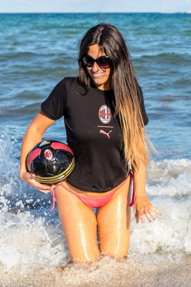 Claudia Romani in Bikini Bottoms having fun on South Beach