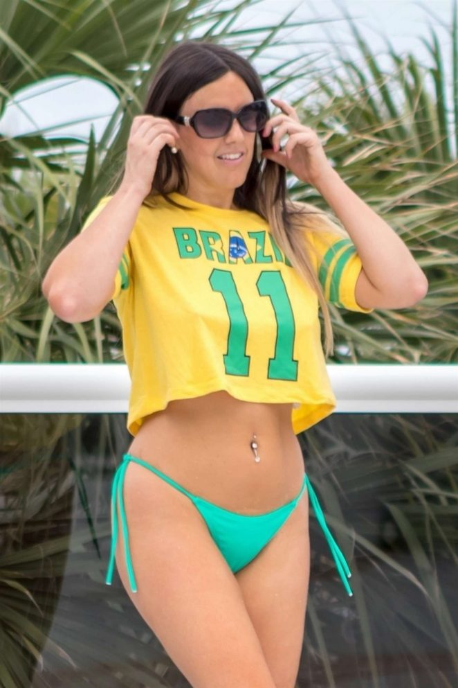 Claudia Romani in Bikini Bottoms on the pool in Miami