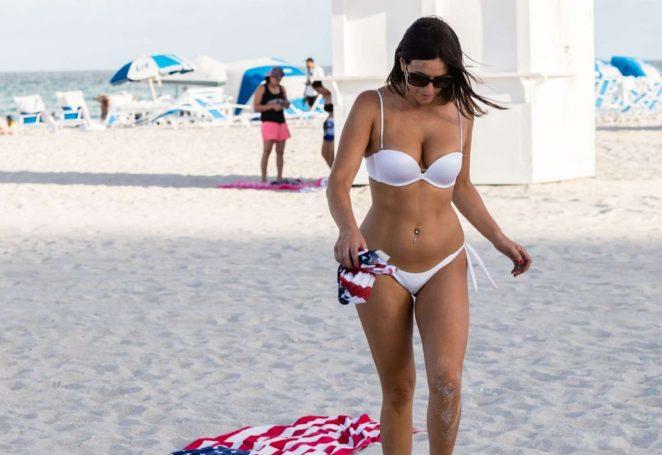 Claudia Romani in Bikini Celebrating the Fourth of July in Miami