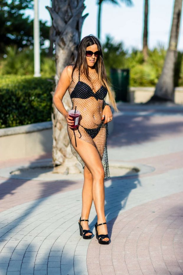 Claudia Romani in Black Bikini at a South Beach