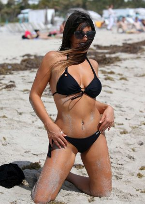 Claudia Romani in Black Bikini on Miami Beach