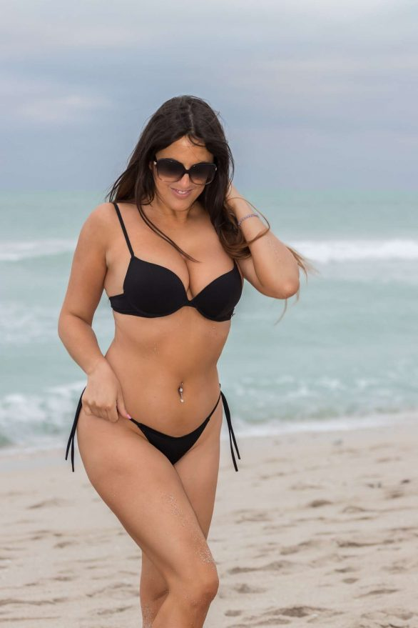 Claudia Romani in Black Bikini on South Beach