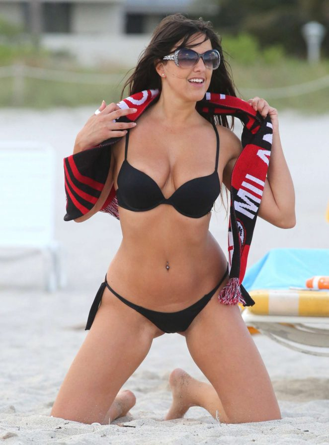 Claudia Romani in Black Bikini on the beach in Miami