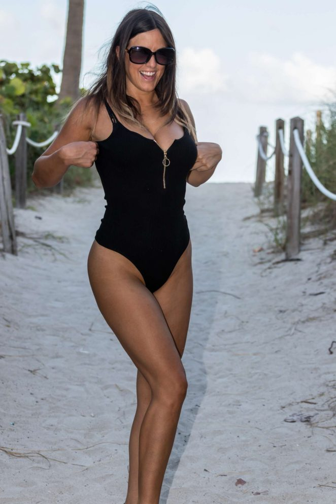 Claudia Romani in Black Swimsuit on South Beach