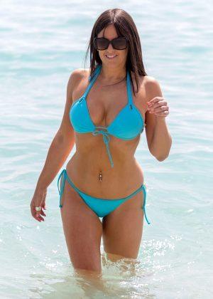 Claudia Romani in Blue Bikini on South Beach in Miami