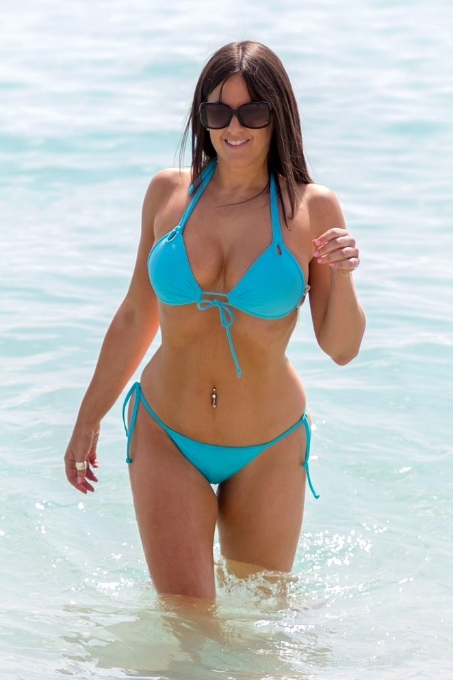 Claudia Romani in Blue Bikini on South Beach in Miami
