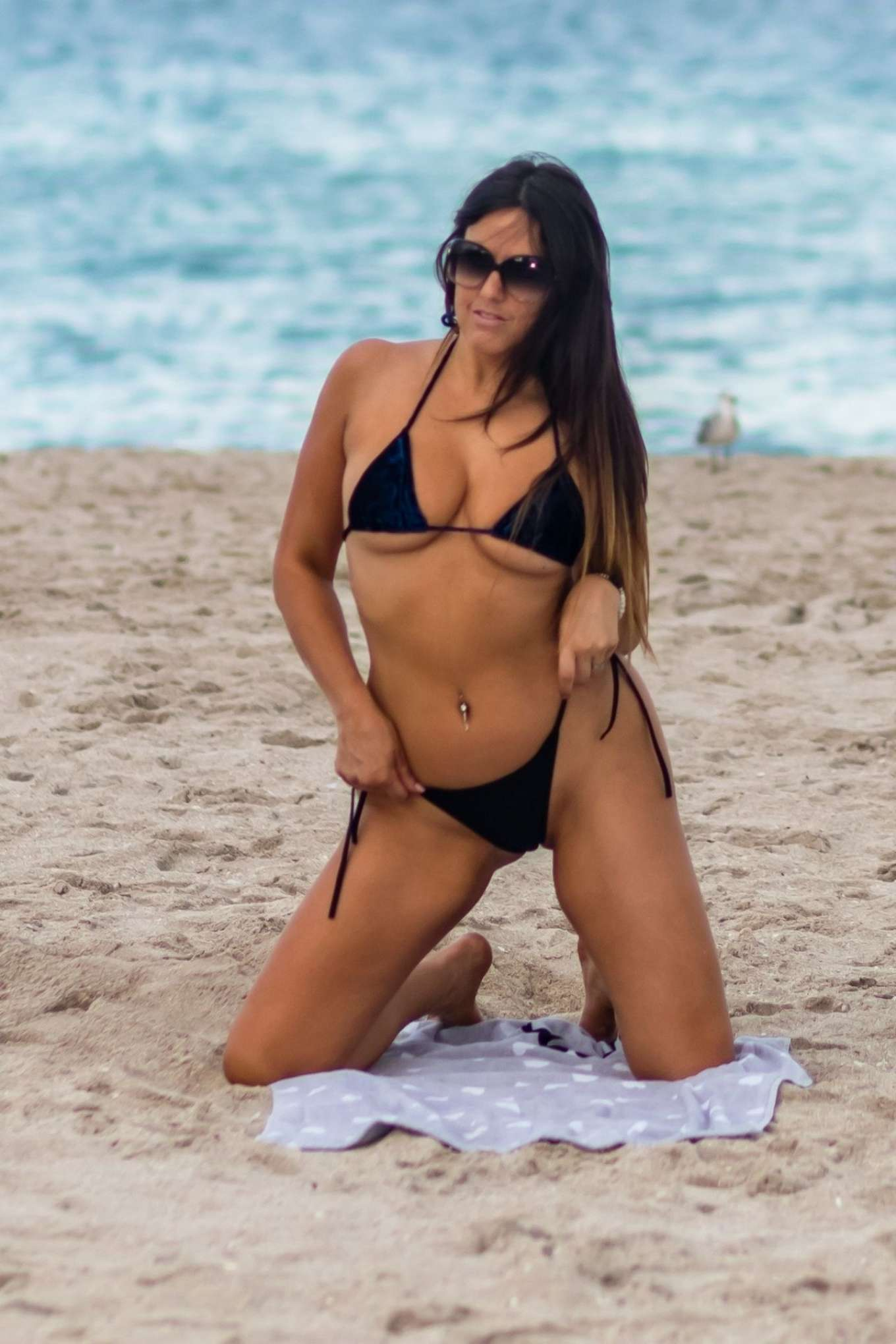 Claudia Romani in Blue Velvet Bikini on South Beach in Miami