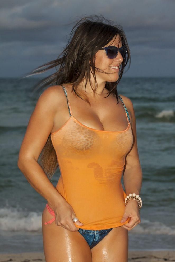 Claudia Romani in Denim Bikini working out in Miami