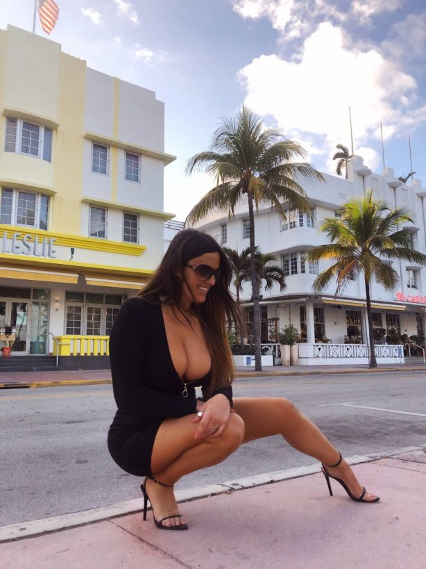 Claudia Romani in Mini Black Dress - On Ocean Drive in Miami