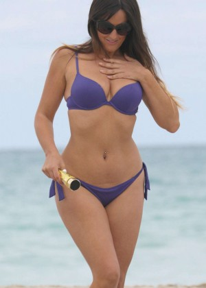 Claudia Romani in Purple Bikini in Miami