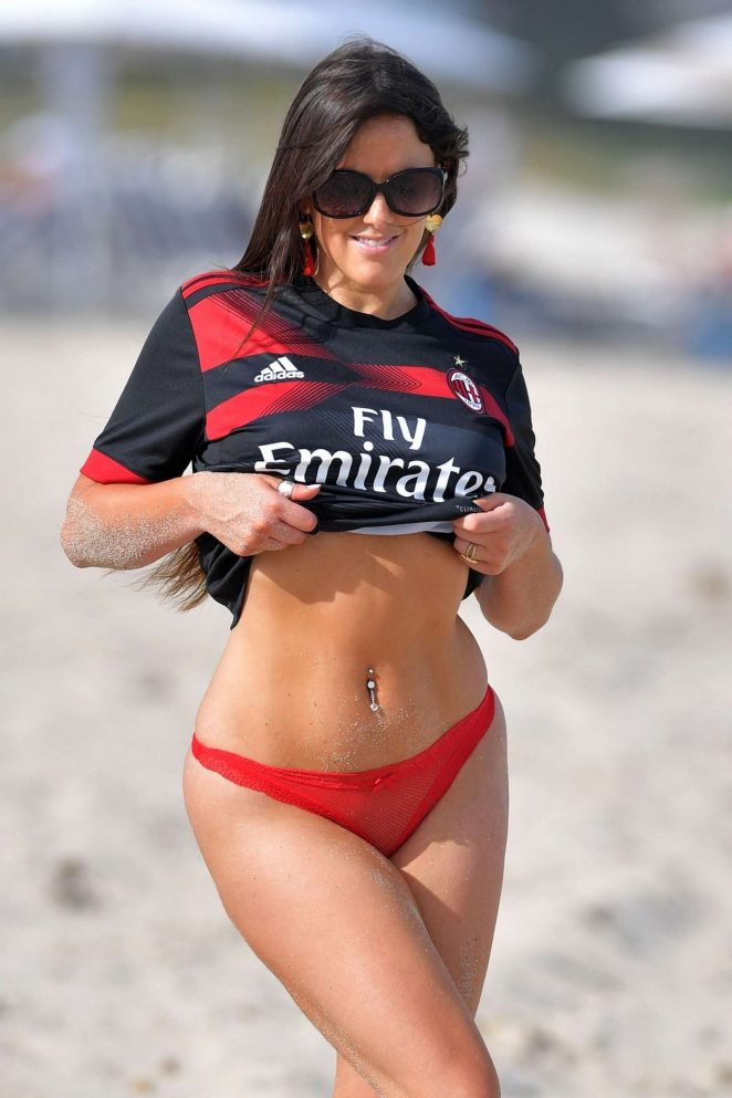 Claudia Romani in Red Bikini Bottoms on the beach in Miami