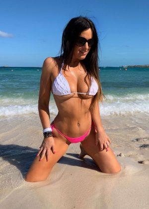 Claudia Romani in White and Pink Bikini in the Bahamas