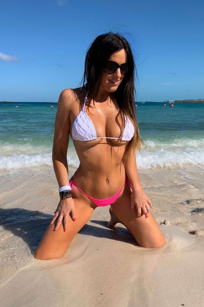 Claudia Romani in White and Pink Bikini in the Bahamas