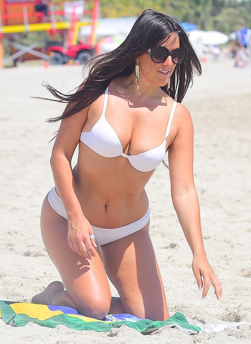 Claudia Romani in White Bikini in Miami