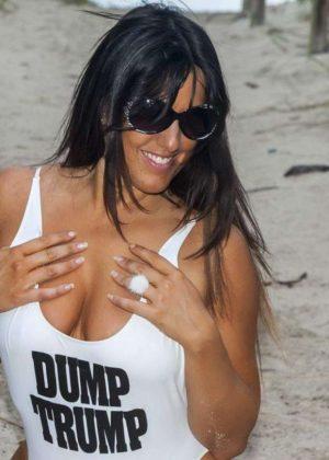 Claudia Romani in White Swimsuit -02