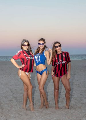 Claudia Romani, Laura Bragato and Julia Pereira in Bikini and Soccer Jerseys on the beach in Miami