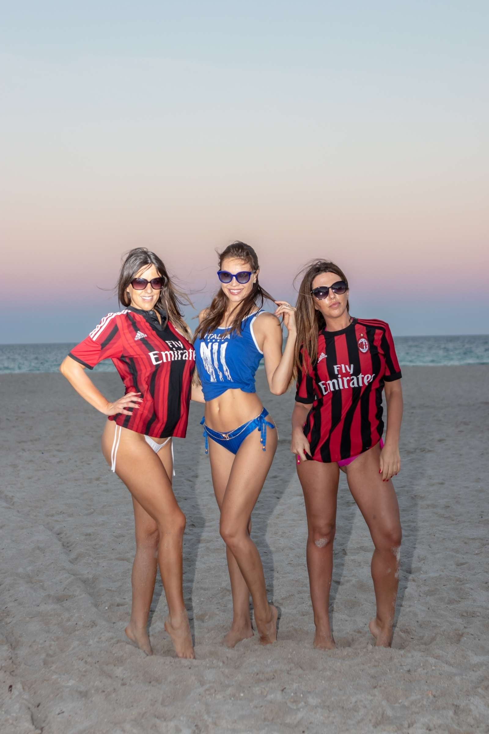 Claudia Romani, Laura Bragato and Julia Pereira in Bikini and Soccer Jerseys on the beach in Miami