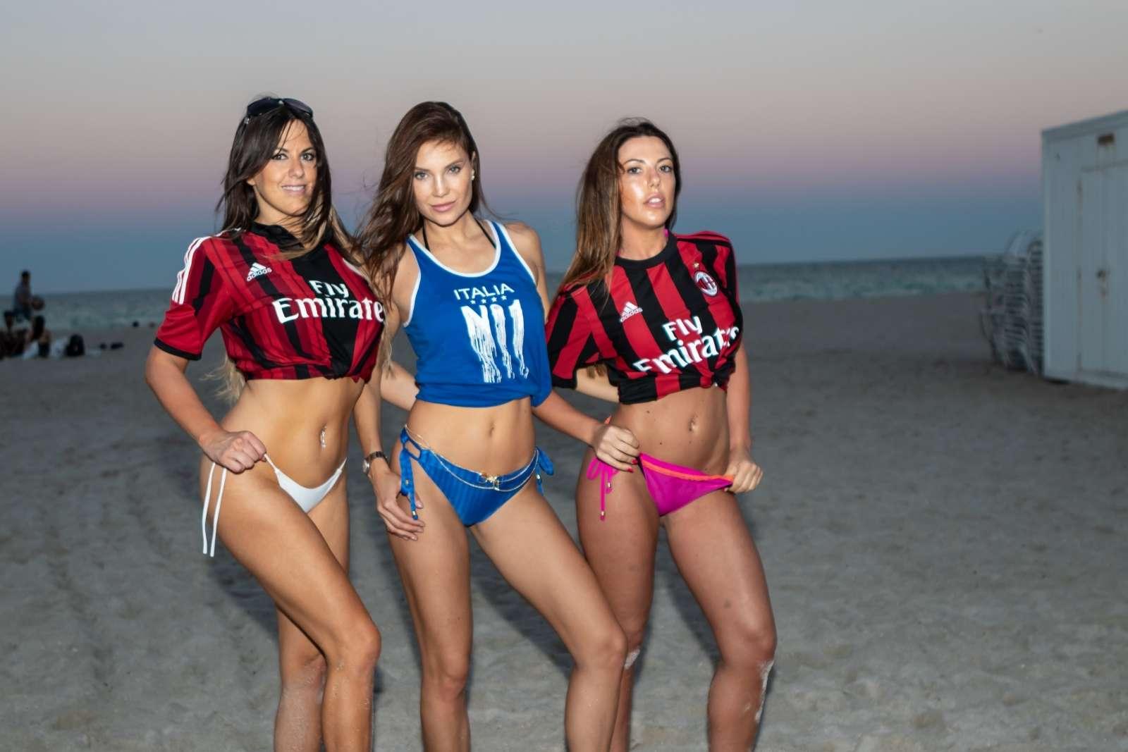 Claudia Romani 2018 : Claudia Romani, Laura Bragato and Julia Pereira in Bikini and Soccer Jerseys -11
