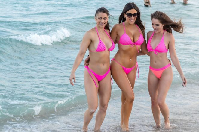 Claudia Romani Melissa Lori and Anais Zanot in Pink Bikinis on South Beach in Miami