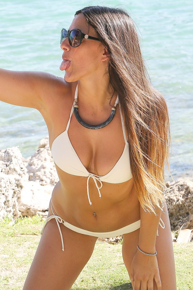 Claudia Romani in White Bikini in Miami