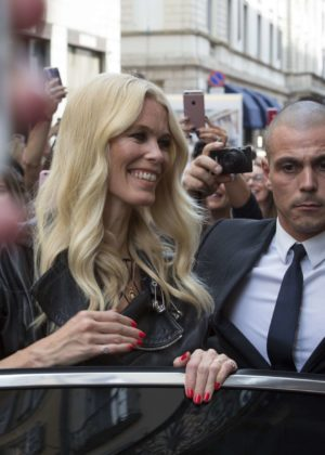 Claudia Schiffer - Visits the Versace store in Milano along with Donatella Versace in Milan