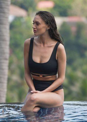 Clelia Theodorou in Bikini on the pool in Thailand