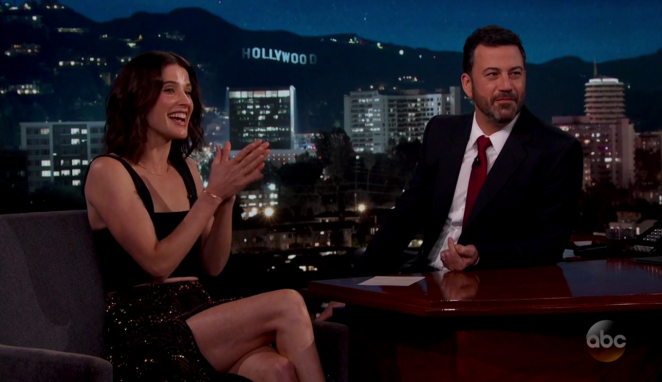 Cobie Smulders at Jimmy Kimmel Live! in Los Angeles