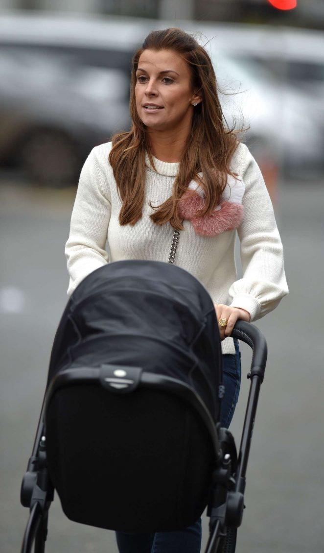 Coleen Rooney at the Old Trafford stadium in Manchester