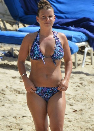 Coleen Rooney in Blue Bikini on the beach in Barbados