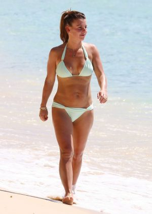 Coleen Rooney in Bikini on a beach in Barbados