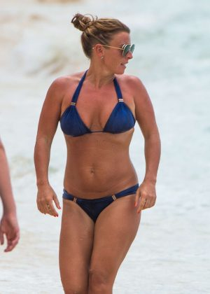 Coleen Rooney in Blue Bikini at Sandy Lane Beach in Barbados