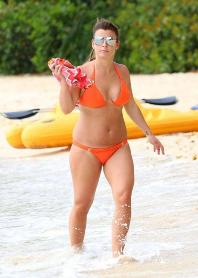 Coleen Rooney in Orange Bikini in Barbados