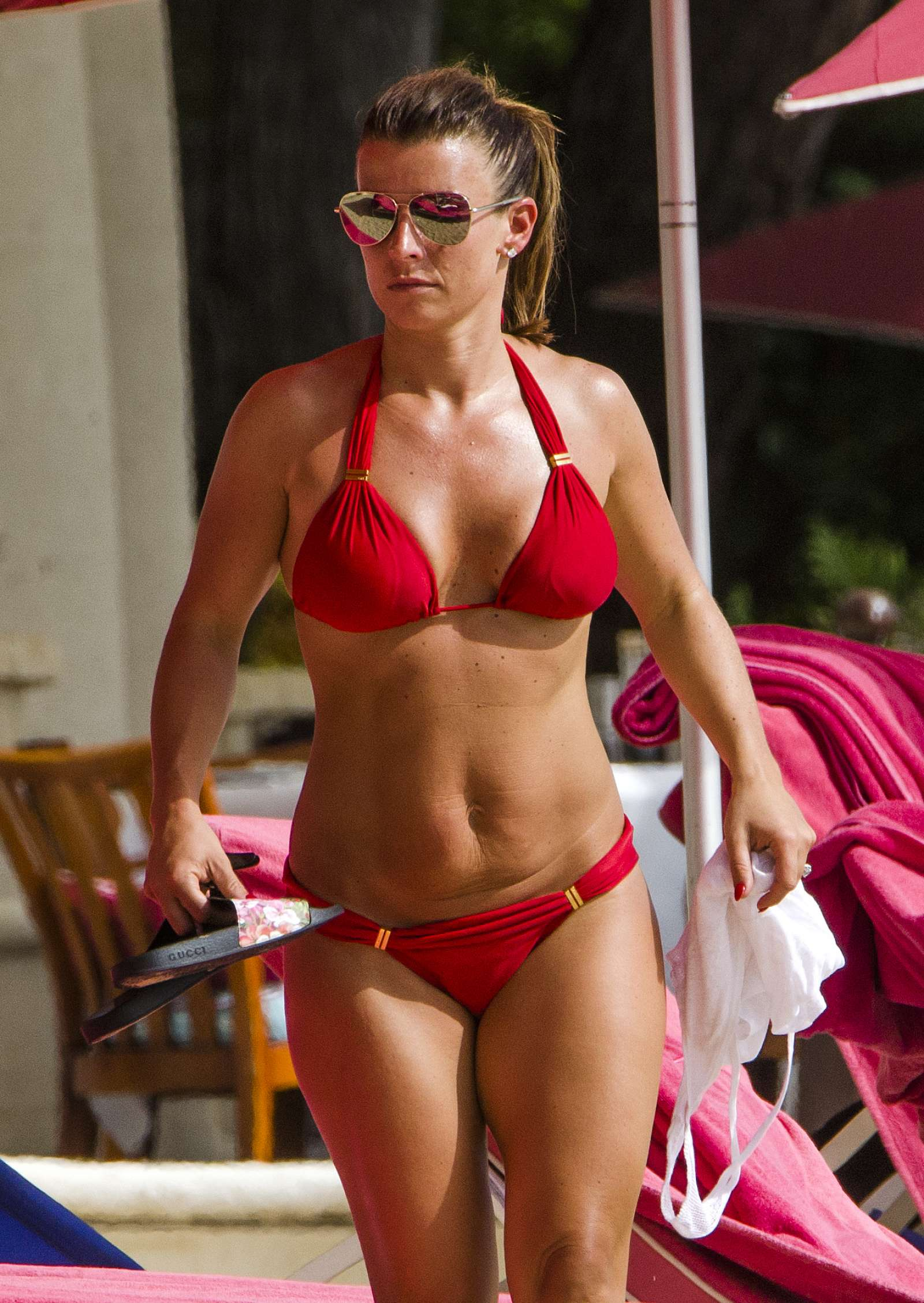 Coleen Rooney In Red Bikini On The Beach In Barbados