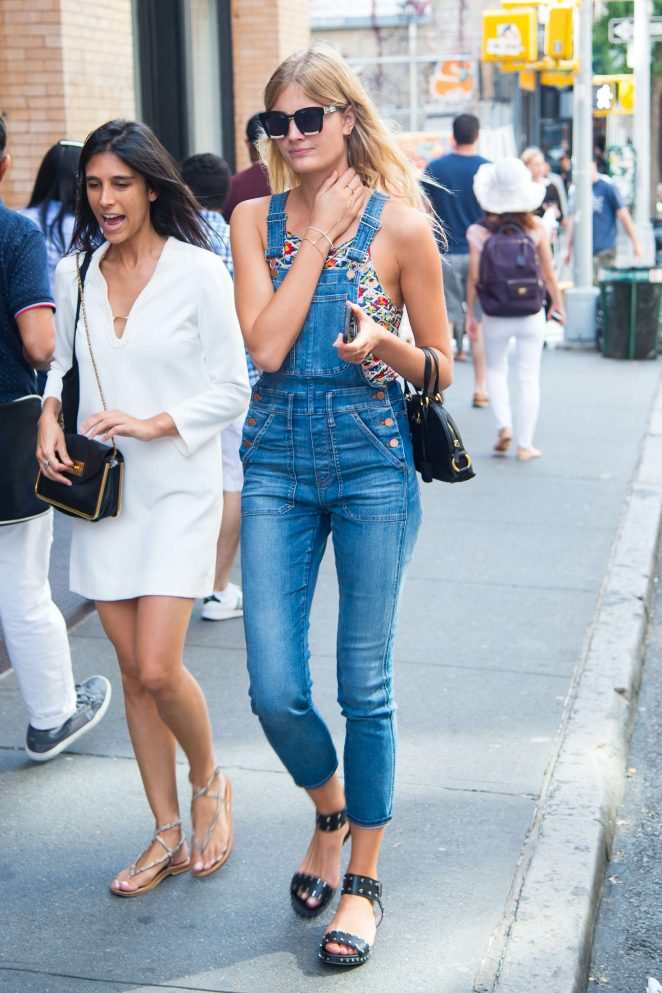 Constance Jablonski in Jeans Jumpsuit in New York City