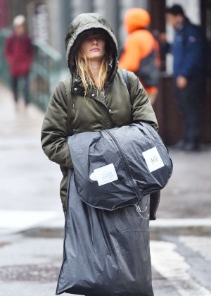 Constance Jablonski out on a rainy day in New York
