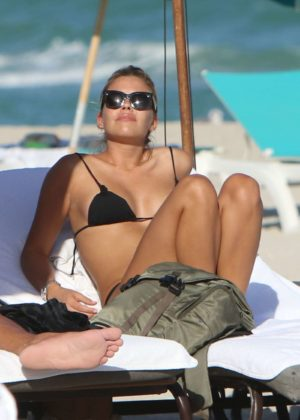 Constanza Caracciolo in Black Bikini at the beach in Miami