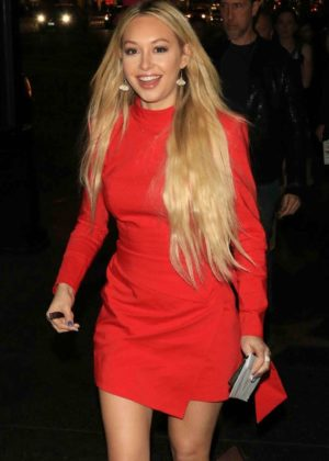 Corinne Olympios in Red Dress - Leaves the 'Father Figures' Premiere in LA