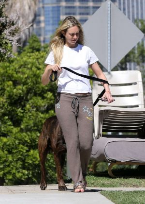 Corinne Olympios Walks Her dog out in Los Angeles