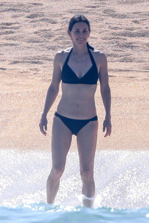 Courteney Cox in Black Bikini on the beach in Cabo
