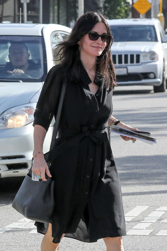 Courteney Cox in Black Dress at Andy LeCompte Salon in West Hollywood