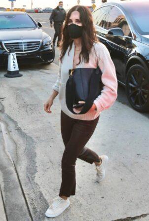 Courteney Cox - In leather pants at Giorgio Baldi in Santa Monica